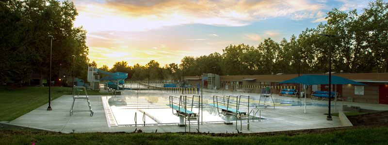 Dolors Bengtson Aquatic Center at sunset