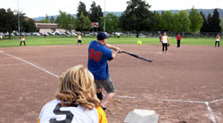 adults playing softball