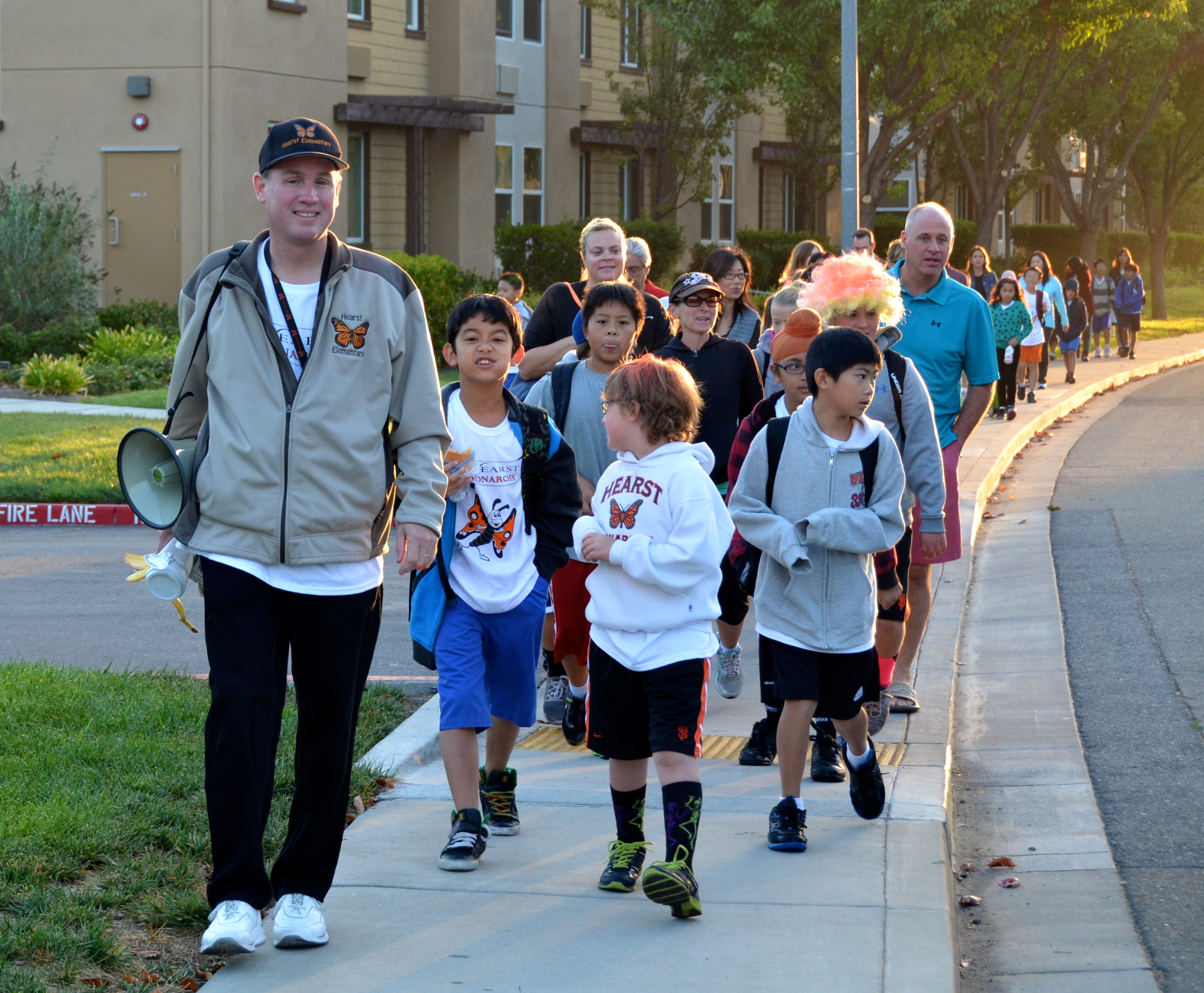 Principal Kuhfal and Hearst students on Walk to School Day