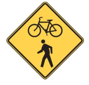 Bicycle and Pedestrian Symbol Sign